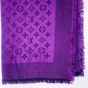 LOUIS VUITTON Monogram Silk/Wool Shawl in Cassis